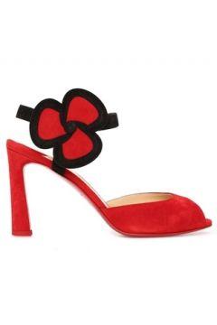 Christian Louboutin Kadın Pansy Kırmızı Çiçek Detaylı Deri Topuklu Ayakkabı 39 EU(116886655)