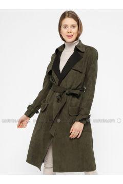 Khaki - Unlined - Shawl Collar - Trench Coat - İkoll(110320033)