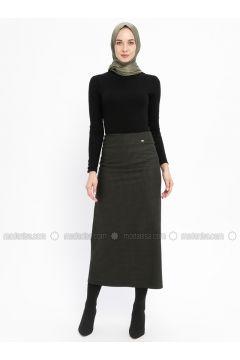 Khaki - Checkered - Fully Lined - Skirt - Zinet(110335317)