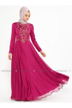 Fuchsia - Fully Lined - Crew neck - Muslim Evening Dress - An-Nahar(110319391)