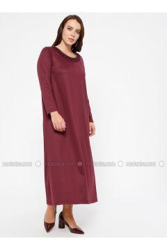 Cherry - Unlined - Crew neck - Plus Size Dress - CARİNA(110320242)