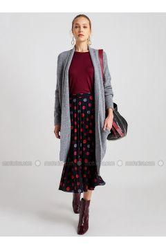 Gray - Wool Blend - Viscose - Acrylic -- Cardigan - NG Style(110341278)