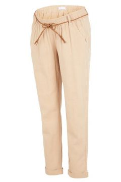 MAMA.LICIOUS Woven Braid Belted Maternity Trousers Women Brown(112329113)