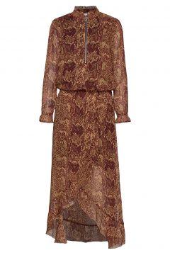 Dress W. Long Sleeves In Pyton Prin Kleid Knielang Braun COSTER COPENHAGEN(114163343)