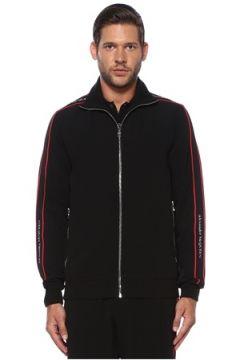Alexander McQueen Erkek Siyah Dik Yaka Logo Bantlı Ceket L EU(120498212)