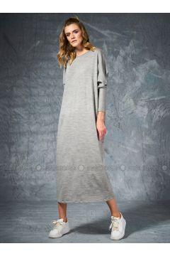 Gray - Crew neck - Unlined -- Dresses - Eda Atalay(110331484)