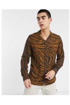 Criminal Damage - Camicia a maniche lunghe color nero e marrone tigrato(120280193)