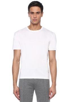 Isaia Erkek Beyaz Bisiklet Yaka Basic İpek T-shirt L EU(113789490)