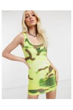 Criminal Damage - Vestito a fascia corto tie-dye-Verde(120329183)