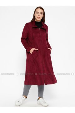 Cherry - Unlined - Point Collar - Plus Size Coat - ECESUN(110329384)