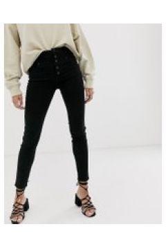 Abrand x Josephine Skriver - Jeans skinny vita alta con bottoni a vista-Nero(120356042)