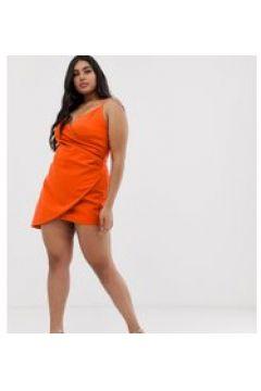 Club L London - London Plus - Asymmetrisches Minikleid mit Camisole-Trägern in Orange - Orange(94964923)