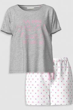 Kadın Baskılı Pamuklu Şortlu Pijama Takımı(126604665)
