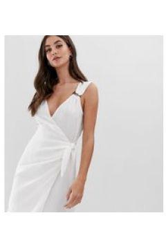 Fashion Union Tall - Vestito a portafoglio con anello in legno-Bianco(120330488)