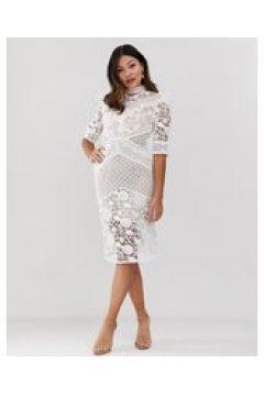 True Decadence - Vestito midi premium bianco in pizzo sangallo a contrasto con carré a volant(123790347)