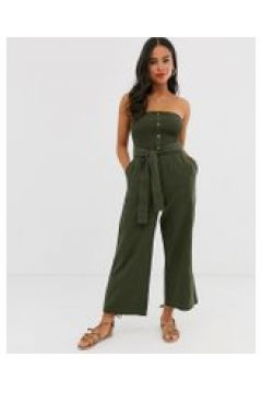 Abercrombie & Fitch - Tuta jumpsuit a fascia con fondo ampio e cintura - Verde(92947501)
