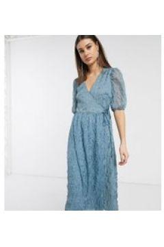Glamorous Tall - Vestito a portafoglio al polpaccio testurizzato con maniche voluminose-Blu(120329446)