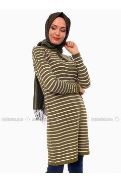 Khaki - Stripe - Crew neck - Acrylic -- Tunic - Por La Cara(110318374)