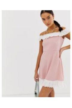 Emory Park - Schulterfreies Kleid mit Kontrastrüschen - Rosa(94102346)