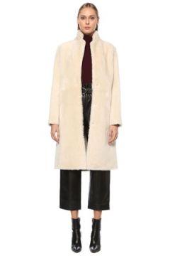 Yves Salomon Kadın Ekru Kelebek Yaka Çift Taraflı Deri Palto Bej 36 FR(124203747)