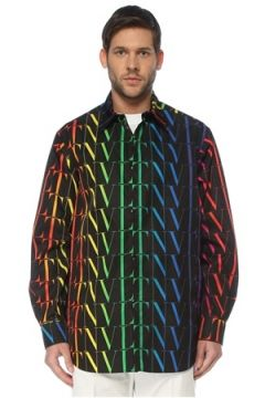 Valentino Erkek Siyah Polo Yaka Renkli Logo Baskılı Dış Gömlek 46 IT(127364738)