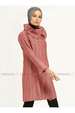 Red - Gray - Stripe - Tunic - MAKBUSH(110317431)
