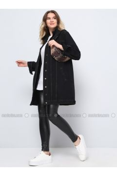 Black - Point Collar - Unlined - Cotton - Denim - Plus Size Jacket - Alia(110319097)