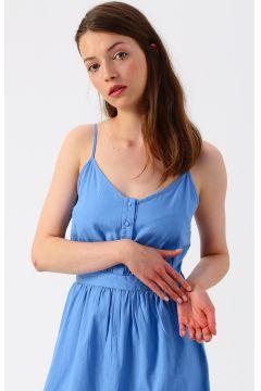 Vero Moda Düğme Detaylı Mavi Uzun Elbise(113981010)