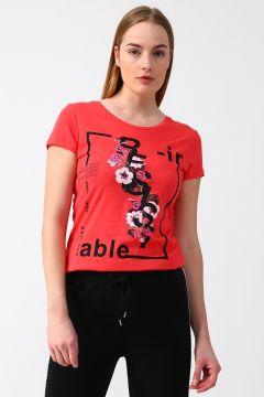 Fashion Friends Baskılı Mercan Rengi T-Shirt(113978590)