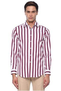 Pal Zileri Erkek Bordo Beyaz Klasik Yaka Gömlek 42 IT(118330201)