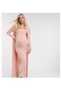 Club L London - Vestito premaman a fascia lungo e sinuoso con spacco alla coscia rosa in coordinato(121395595)