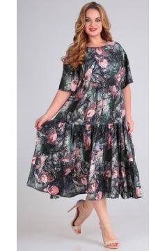 Платье Andrea Style 00271 серый с розовым(115248418)