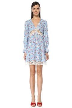 Miu Kadın Mavi V Yaka Çiçekli Dantel Garnili Mini Elbise 38 IT(108873696)