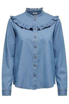 ONLY Ruche Overhemd Dames Blauw(108627246)