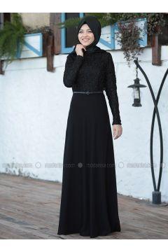 Black - Crew neck - Unlined - Dresses - Al-Marah(110320074)