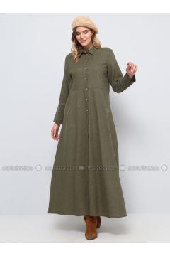 Khaki - Unlined - Point Collar - Cotton - Plus Size Dress - Alia(110319505)