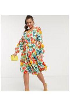 Glamorous Curve - Vestito a portafoglio al polpaccio con gonna a balze a fiori vintage vivaci-Bianco(123214219)