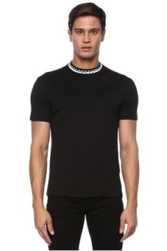 Versace Erkek Siyah Yakası Kontrast Logo Detaylı T-shirt S EU(120885123)