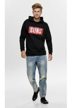 Only & Sons Siyah Kapüşonlu Baskılı Sweatshirt(113990449)
