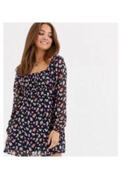 Wednesday\'s Girl - Vestito con scollo squadrato a fiori vintage-Nero(120328454)