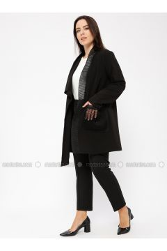 Black - Unlined - Shawl Collar - Jacket - Minimal Moda(110331281)
