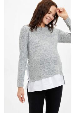 DeFacto Kadın Gömlek Detaylı Relax Fit Hamile Üst(125927761)
