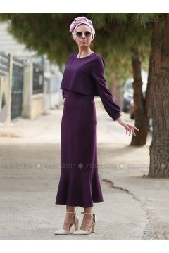 Purple - Crew neck - Unlined - Dresses - Myzen(110336543)