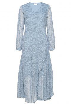 Dress In Frost Print W. Long Sleeve Kleid Knielang Blau COSTER COPENHAGEN(114163462)