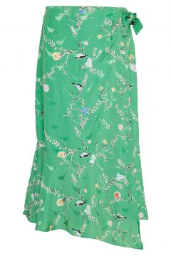 Skirt W. Wrap Look In Birdprint Knielanges Kleid Grün COSTER COPENHAGEN(114163269)