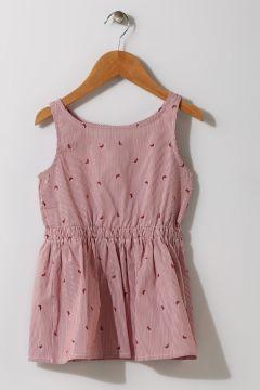 Limon Kız Çocuk Çizgili Bordo - Beyaz Elbise(119280034)