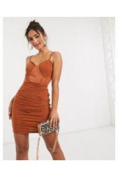 NaaNaa - Vestito a fascia con dettagli a rete color ruggine-Arancione(120333833)