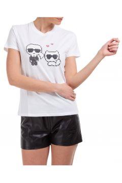 Women's t-shirt short sleeve crew neck round choupette karl pixel(118181418)