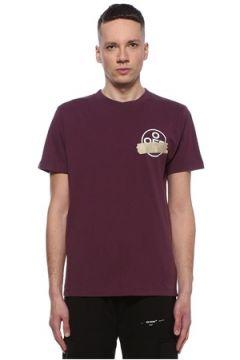 Off-White Erkek Mor Slogan Detaylı Logolu Basic T-shirt S EU(107864200)