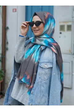 Blue - Printed - Cotton - Shawl - Benatt(110330025)